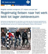 TNO - BIKING TO WORK REDUCES ABSENTEEISM