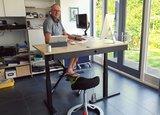 Deskbike Back app en hoekbureau l Deskbike bureaufiets | Fiets je fit achter je bureau | Worktrainer.nl