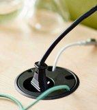 Stekkerdoos zwart met kabels