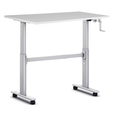 Small sit-stand desk S100 - Manual crank and wheels