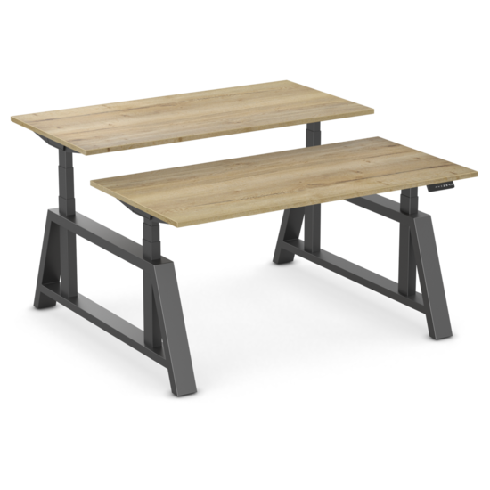 Double Electric Sit-Stand Desk - OakDesk