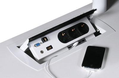 Power box 3x stroom, 2x data CAT6 alle accessoires bij je zit-sta bureau koop je online bij Worktrainer.nl